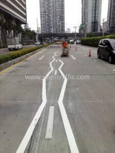 Line marking at Unilever Building Rama 9