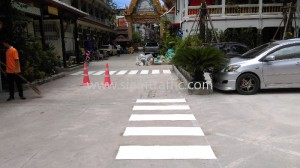 รับตีเส้นถนนด้วยสีเทอร์โมพลาสติก วัดสุทธิวราราม ถนนเจริญกรุง