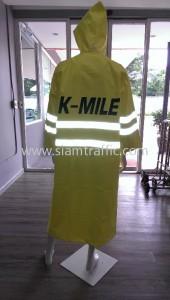 เสื้อคลุมสะท้อนแสง สกรีนข้อความ K-MILE เสื้อกันฝนสีเขียว 11 ตัว