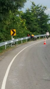 Guard rail w metal beam crash barrier Nongto to Tamiang Buriram Highway