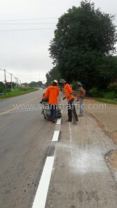 Thermoplastic line markings Horob to Sawankhalok Sukhothai Highway