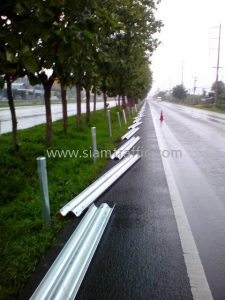 W beam highway steel guard rails Paktho to Srapang Samutsongkram Highway