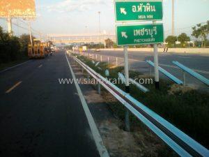 W shaped beam guard rails Nakhok to Phragnamdang to Wangmanao Samutsongkram Highway
