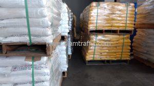 สีเทอร์โมพลาสติกสีขาว และสีเหลือง 3,000 ถุง ส่งไปประเทศพม่า