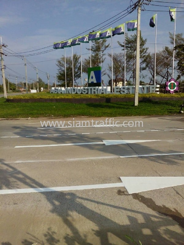 เส้นถนนสีขาว และสีเหลือง นิคมอุตสาหกรรมเอเซีย สุวรรณภูมิ