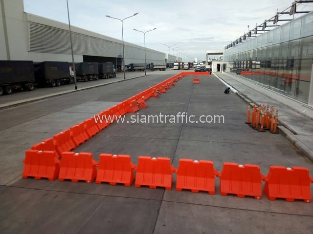 Plastic barrier and traffic cones khao CP Ayutthaya