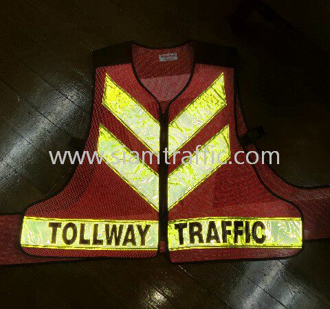 เสื้อกั๊กสะท้อนแสงรูปตัว V สกรีนข้อความ TOLLWAY TRAFFIC