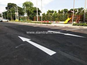 Pavement markings at Plum Condo Chaengwattana Station Phase 3