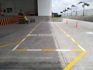 Reflective road marking at Eastern Seaboard Industrial Estate Rayong Province