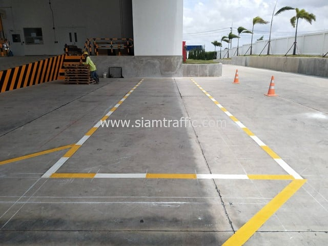 Reflective road marking at Eastern Seaboard Industrial Estate Rayong