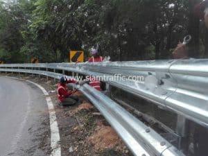 Steel guardrail at Lampang 1 Highway District