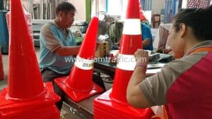 Defence Volunteers in Phron District traffic cones