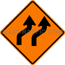 2.1-10 Construction sign – Diverted traffic to right (two lanes).