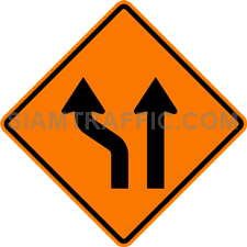 2.1-11 Construction sign – Diverted traffic (one lane on left).