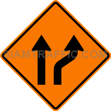 2.1-12 Construction sign – Diverted traffic (one lane on right).
