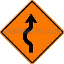 2.1-13 Construction sign – Diverted traffic, first to left.