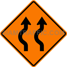 2.1-15 Construction sign – Diverted traffic, first to left, 2 lanes.