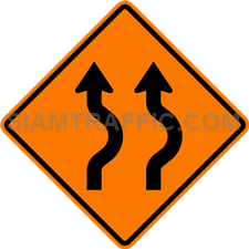 2.1-16 Construction sign – Diverted traffic, first to right, 2 lanes.