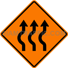 2.1-17 Construction sign – Diverted traffic, first to left, 3 lanes.