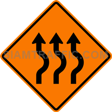 2.1-18 Construction sign – Diverted traffic, first to right, 3 lanes.