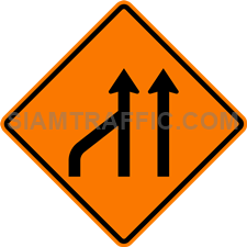 2.1-21 Construction sign – End of left lane (form 2 lanes).