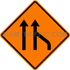 2.1-22 Construction sign – End of right lane (form 2 lanes).