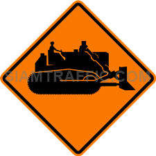 "2.1-4 Construction Signs ""Machine Working"" – The way ahead has machines working on the road side or may occasionally obtrude the road surface."