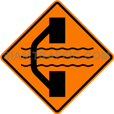 "2.1-5 Construction Signs ""Road Diversion Left"" – The way ahead is under construction. Traffic direction is diverted; use alternative way on the left instead."
