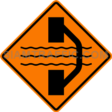 "2.1-6 Construction Signs ""Road Diversion Right"" – The way ahead is under construction. Traffic direction is diverted; use alternative way on the right instead."