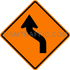 2.1-7 Construction sign – Diverted traffic to left.
