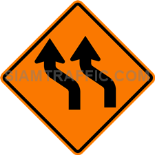 2.1-9 Construction sign – Diverted traffic to left (two lanes).