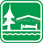 Green tourist signs: Resort