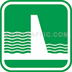 Green tourist signs: Dam