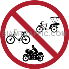 "Regulatory Sign: ""Closed to Bi- or Tri- Cycles"" Bicycles, Tricycles, Motorcycles and Tuk Tuk are prohibited to enter the signage area."