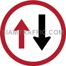 "Regulatory Sign: ""Give Way to Oncoming Traffic"" Drivers of vehicles must stop at the sign to allow the oncoming traffic to pass first. If there is a vehicle in the front, driver must wait their turn, until all oncoming traffic has passed, then proceed with caution."