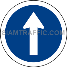 "Regulatory Sign: ""Straight Ahead Only"" Drivers of vehicles must go straight head in the indicated direction only."