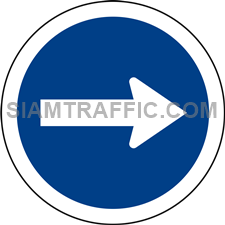 "Regulatory Sign: ""Right Traffic Only"" Drivers of vehicles must drive to the right only."