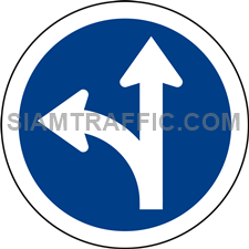 Regulatory Sign: Go straight or turn left