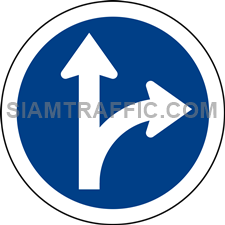 Regulatory Sign: Go straight or turn right