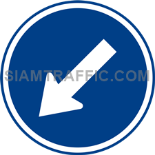 "Regulatory Sign: ""Keep Left"" Drivers of vehicles must drive to the left of the sign. (Department of Rural Roads Standards)"