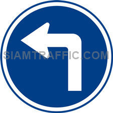 "Regulatory Sign: ""Left Turn"" Drivers of vehicles are allowed to make a left turn. (Department of Rural Roads Standards)"