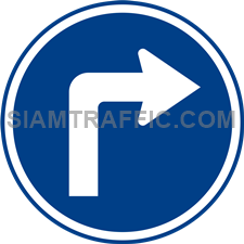 "Regulatory Sign: ""Right Turn"" Drivers of vehicles are allowed to make a right turn. (Department of Rural Roads Standards)"