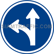 Regulatory Sign: Go straight or turn left. (Department of Rural Roads Standards)