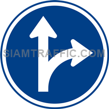 Regulatory Sign: Go straight or turn right. (Department of Rural Roads Standards)