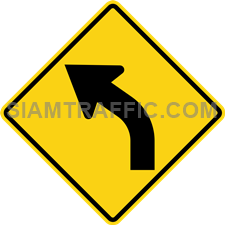 "2-1 Warning Signs ""Left Curve"" – The way ahead is curve to the left. Drivers should slow down the vehicle, and drive on the left of the road with caution."