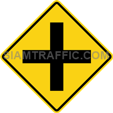 "2-11 Warning Sign ""Crossroad"" – A secondary way crosses a main way and form an intersection. Drivers should slow down the vehicle and drive carefully."