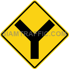 "2-12 Warning Sign ""Y-Symbol Intersection"" – Two main ways connect to eachter and form a Y shape intersection ahead. Drivers should slow down the vehicle and drive carefully."
