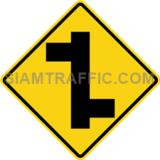 "2-16 Signs Of Warning ""T junction Right & Left"" – A secondary branches off the main way on the right, following by another secondary way branches off on the left. Drivers are advised to drive cautiously."