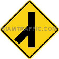 "2-17 Signs Warning ""Angle Side Road Left"" – A secondary way merges with the main way from the left. Drivers are advised to drive cautiously."