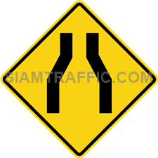 "2-22 A Warning Sign ""Narrow Lanes"" – The way head is narrowed down on both sides. Drivers of vehicles are required to drive more carefully and slowly, as well as trying to not to cause any accident."